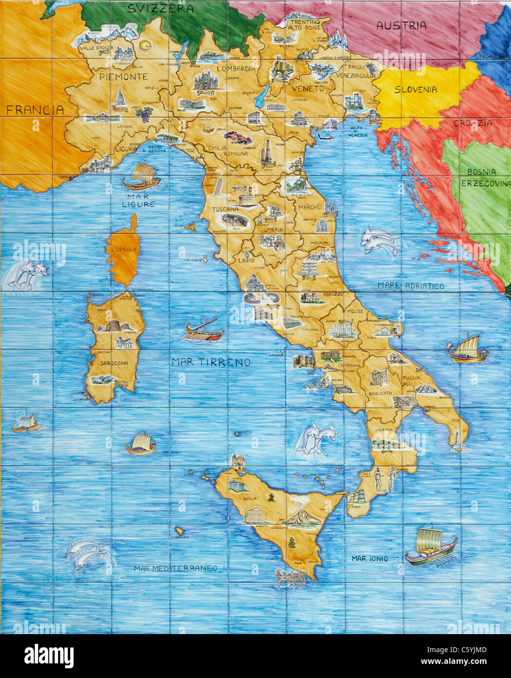 Italy map in ceramic tiles - Stock Image
