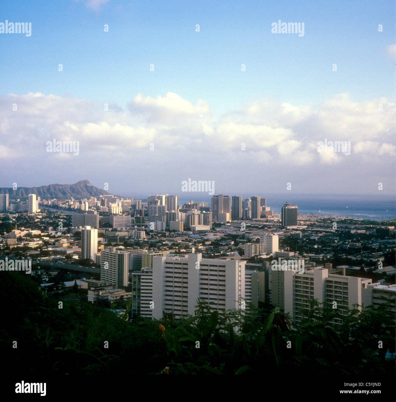 Honolulu Hawaii city scape 1974 city tourist destination urban - Stock Image