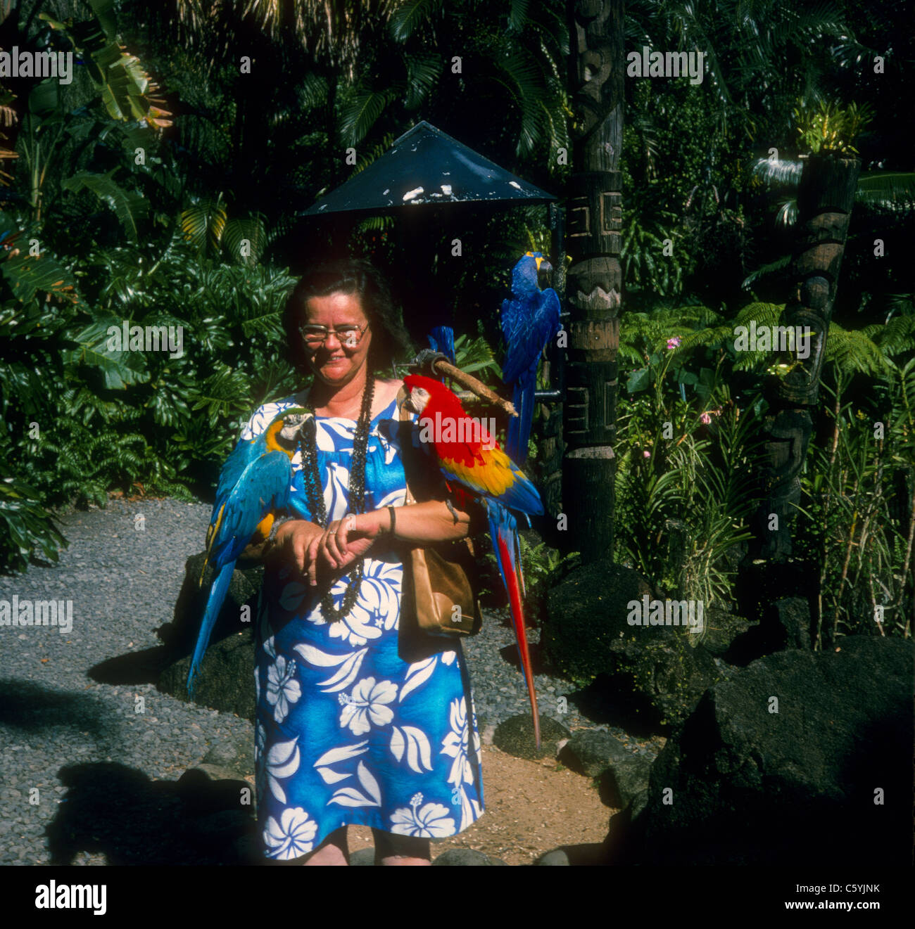tourist with two parrots on shoulders hawaii 1974 blue flower dress fashion - Stock Image