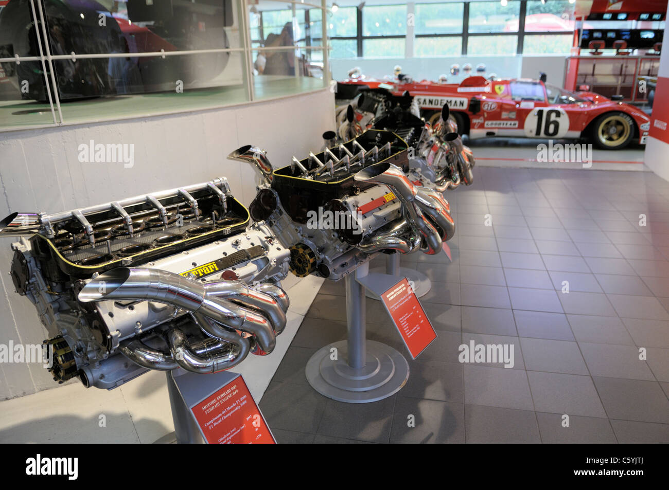 Ferrari engines, Galleria Ferrari, Maranello, Italy - Stock Image