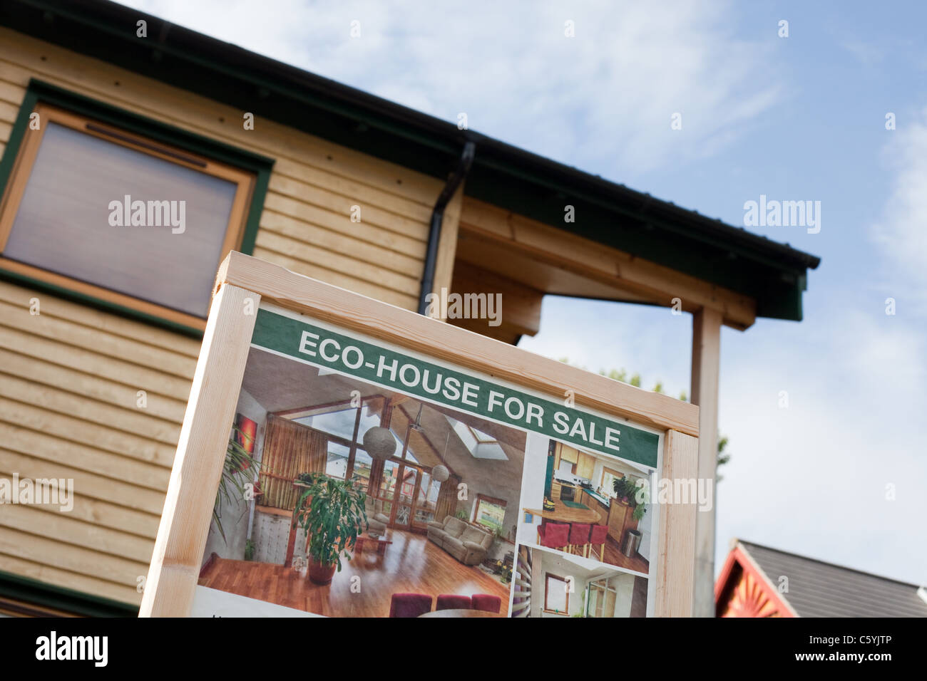 Eco house for sale in Findhorn Foundation Community, Scotland - Stock Image