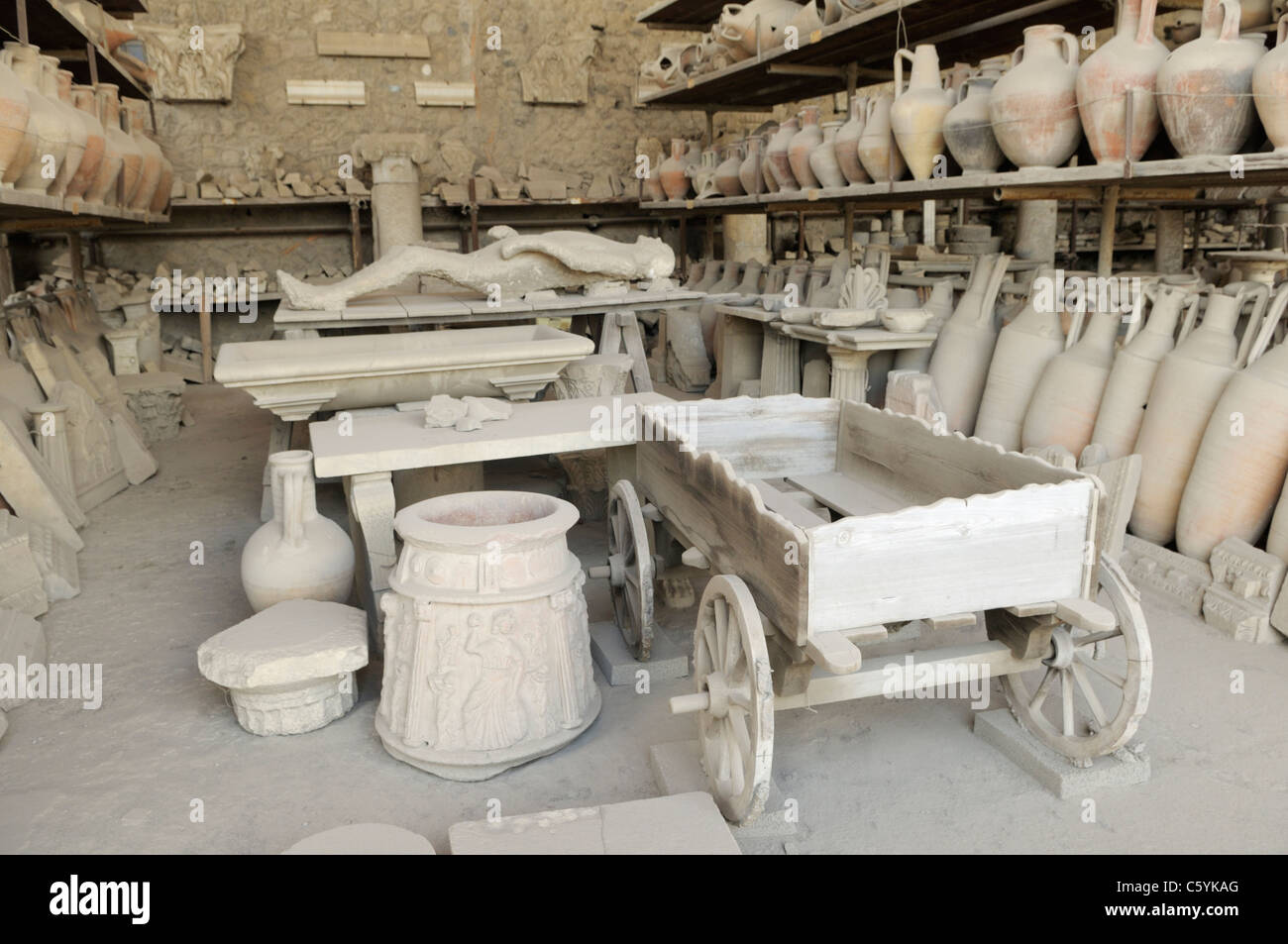 Pompeii forum granary, originally a market, now used as storage for artifacts from the site - Stock Image
