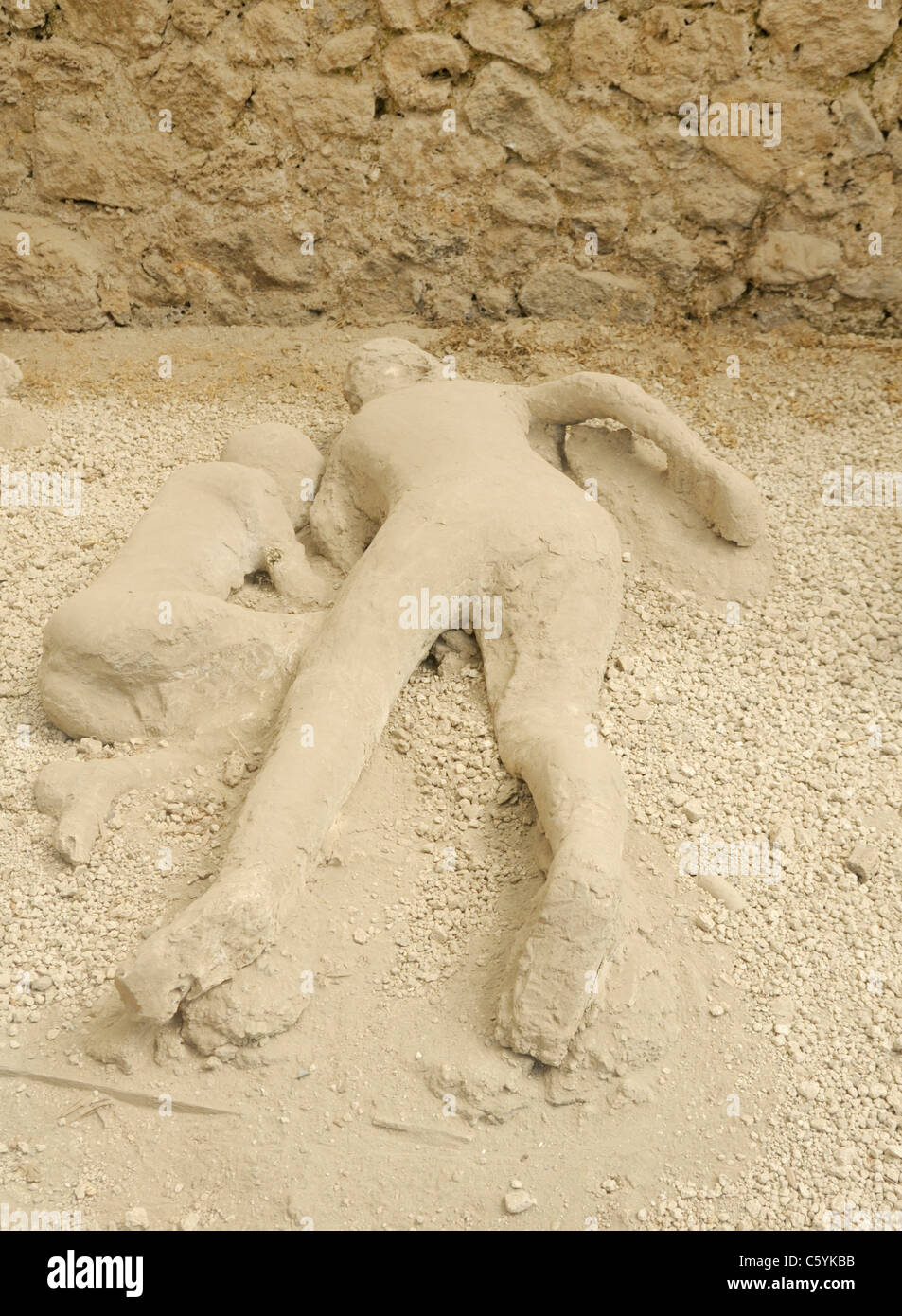 Pompeii victims, plaster casts, Garden of the Fugitives - Stock Image