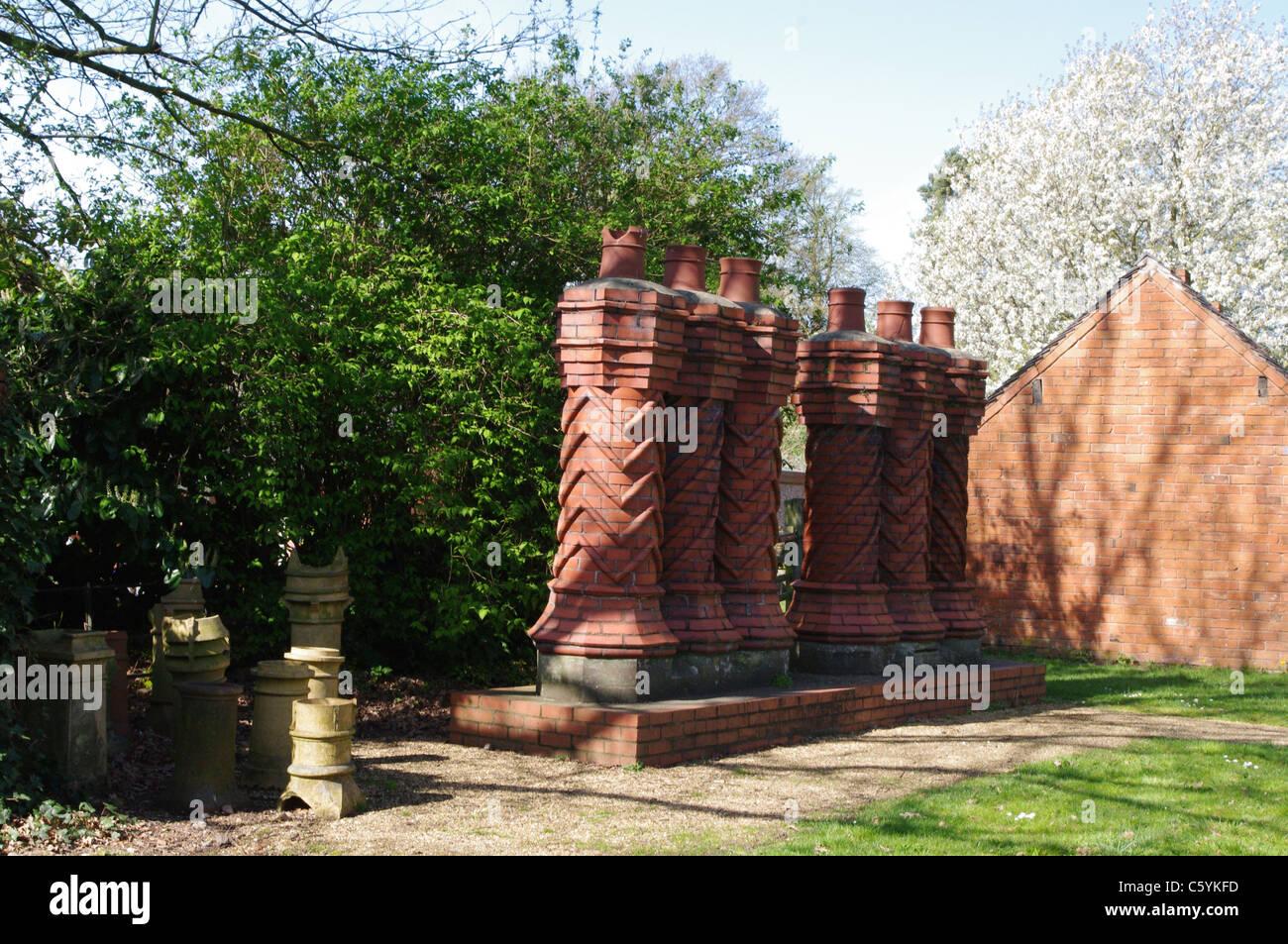Victorian Chimneys at Avoncroft Museum, Bromsgrove - Stock Image