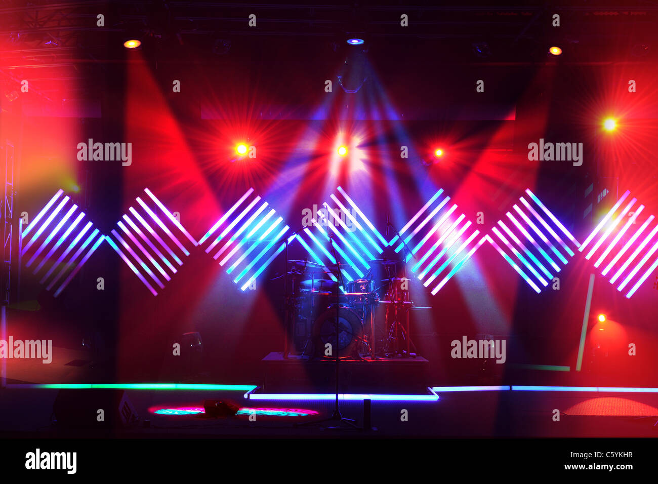 Stage lights with LED design in the background - Stock Image