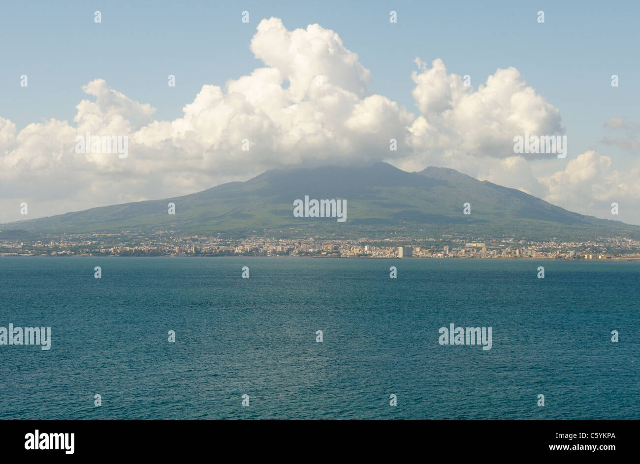 View of Vesuvius and Naples from across Naples Bay (Gulf of Naples) - Stock Image