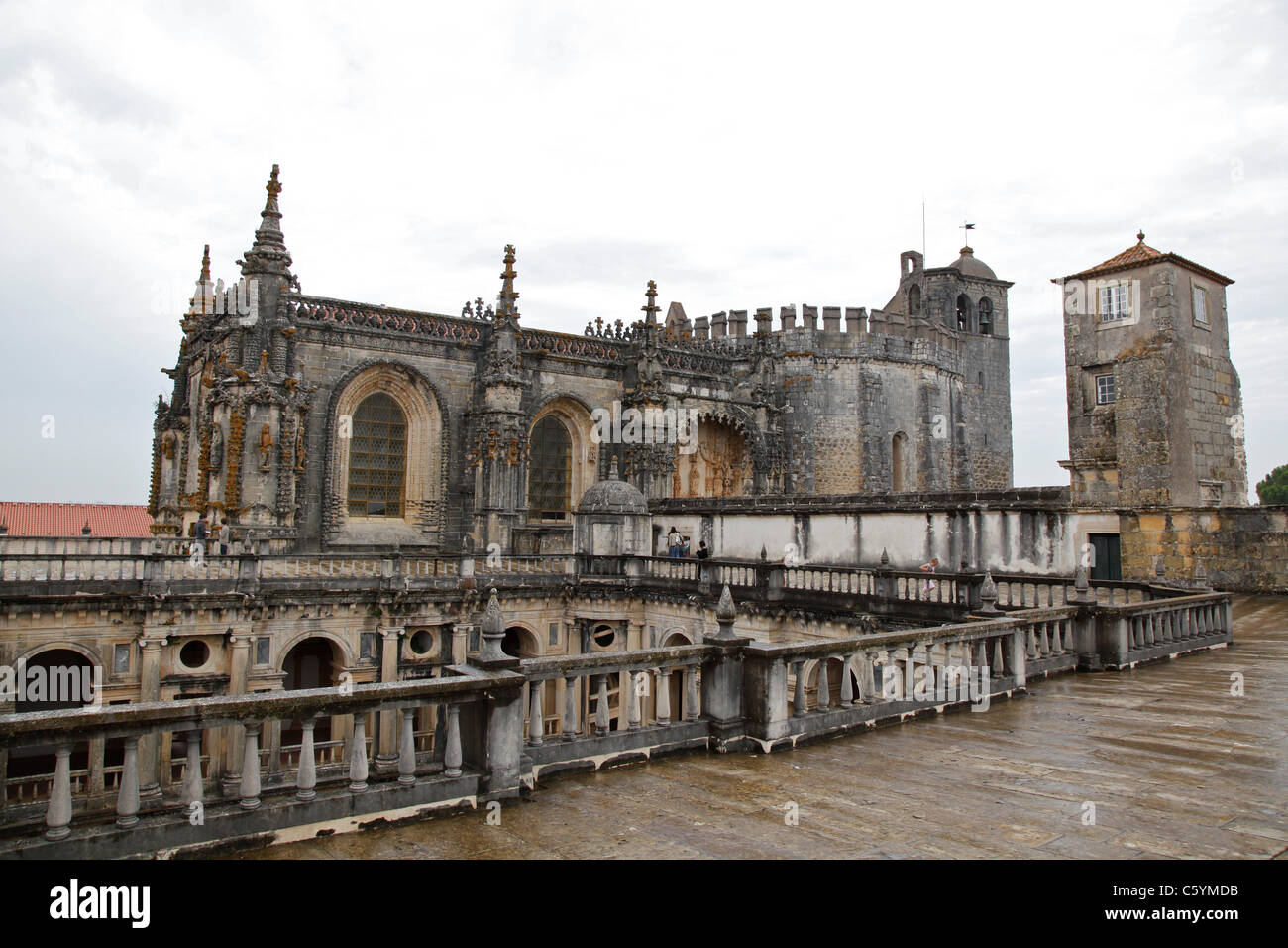 A view of the church of The Convent of the Order of Christ (Convento de Cristo) from above the Renaissance Cloister - Stock Image
