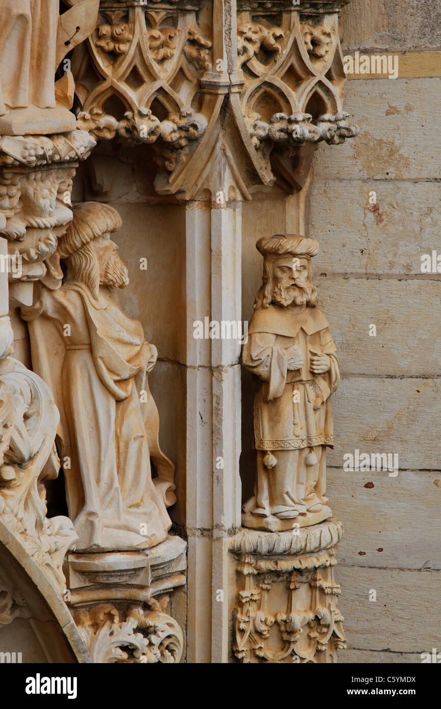 A detail of the manueline entrance to the church of The Convent of the Order of Christ (Convento de Cristo) - Stock Image