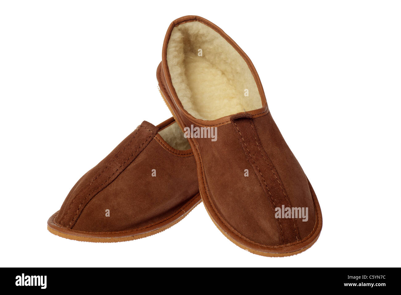 1b20b015b01 isolated brown wool comfortable slippers Stock Photo  38103392 - Alamy