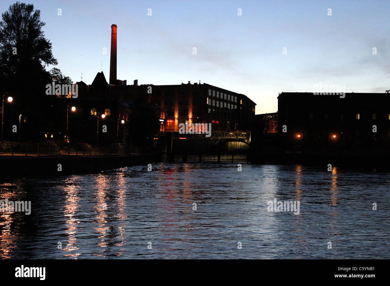 Tammerkoski by light summer night at Tampere, Finland - Stock Image
