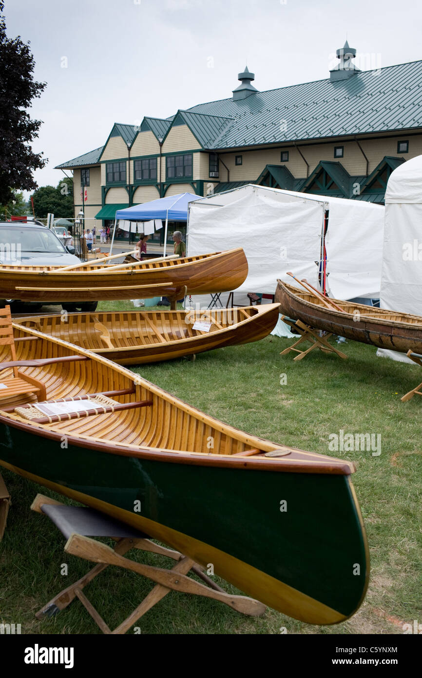 Annual antique boat show, oldest in USA, Antique Boat Museum Clayton New York Thousand Islands Region - Stock Image