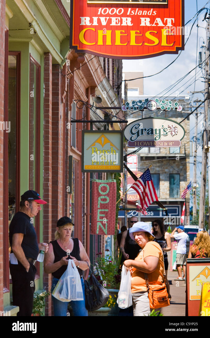 Shoppers on James Street in summer, Clayton, New York, Thousand Islands region, Jefferson County - Stock Image