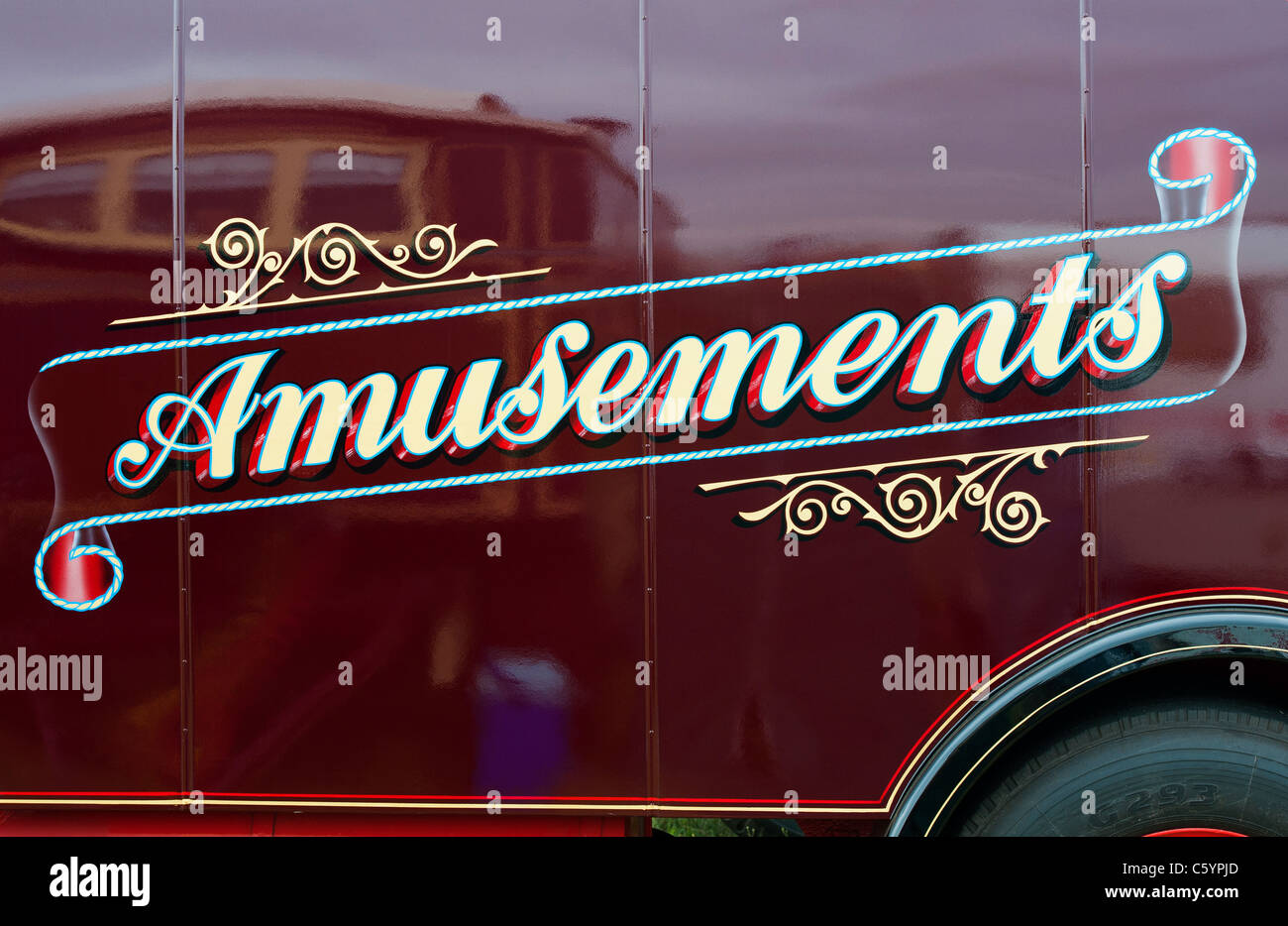 Amusements sign on Scammell highwayman - Stock Image