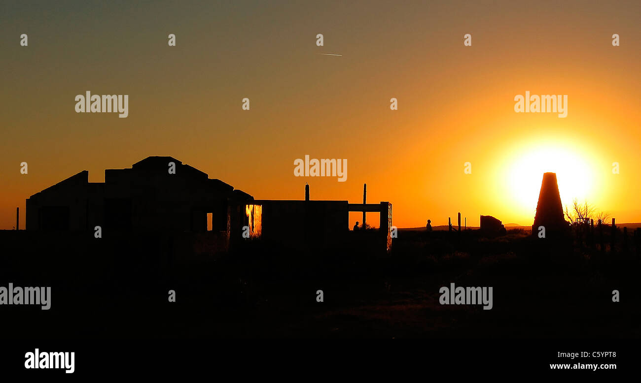 Sun sets on the ruins of Pancho Barnes Happy Bottom Riding Club Rancho Oro Verde Fly-Inn Dude Ranch at Edwards AFB, - Stock Image