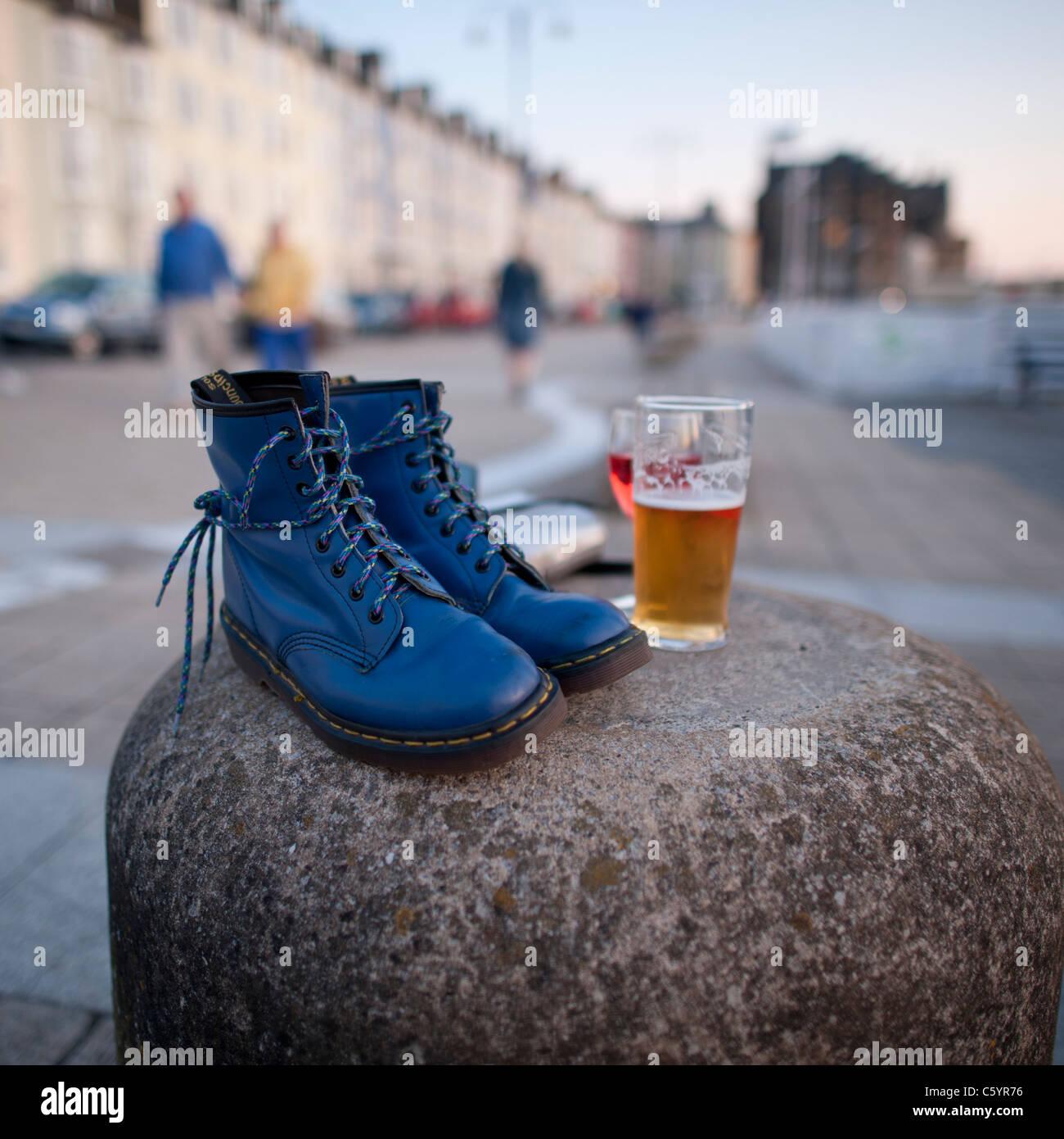 blue doc marten lace-up classic boots