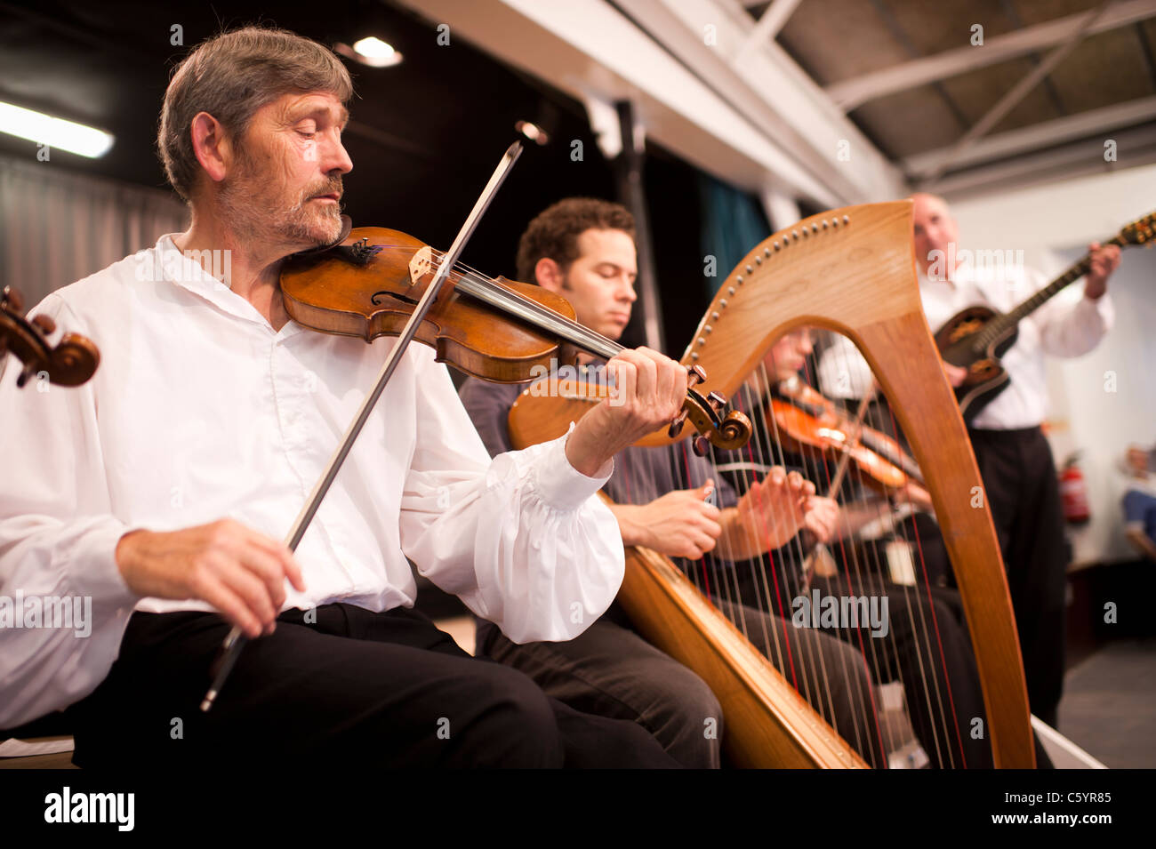 welsh folk musicians playing fiddle and harp, wales uk - Stock Image