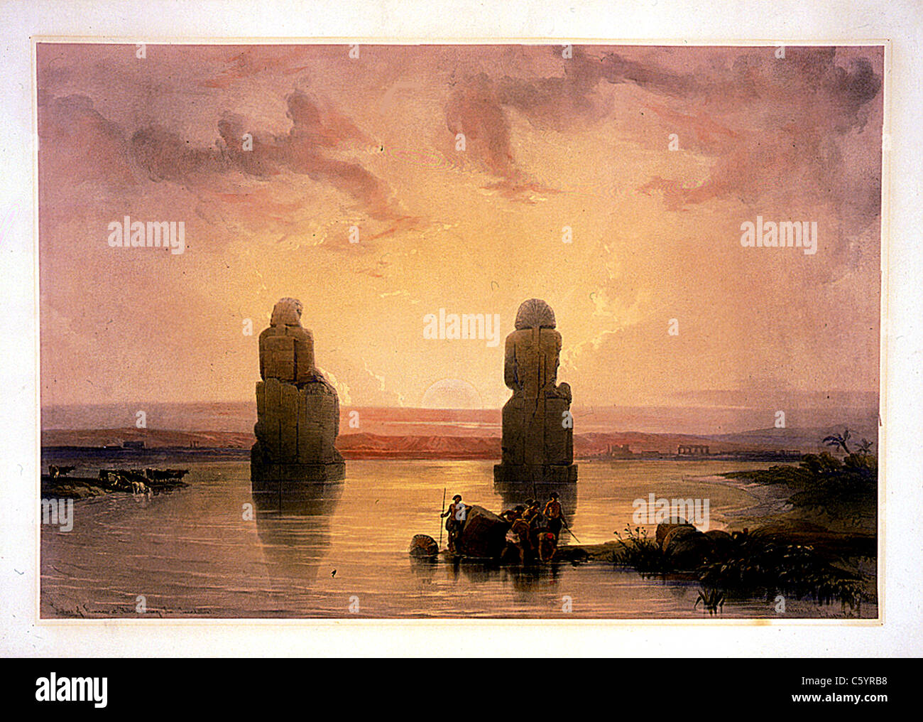 Statues of Memnon at Thebes, during the inundation - David Roberts and Louis Haghe Lithograph - Stock Image