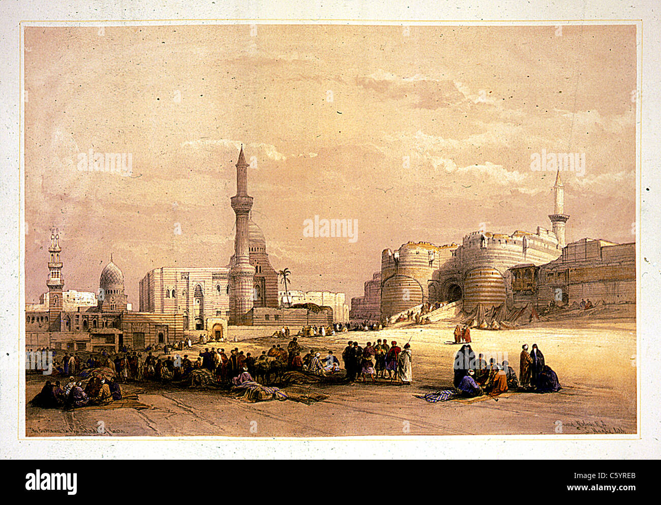 The entrance to the citadel of Cairo - David Roberts and Louis Haghe Lithograph - Stock Image