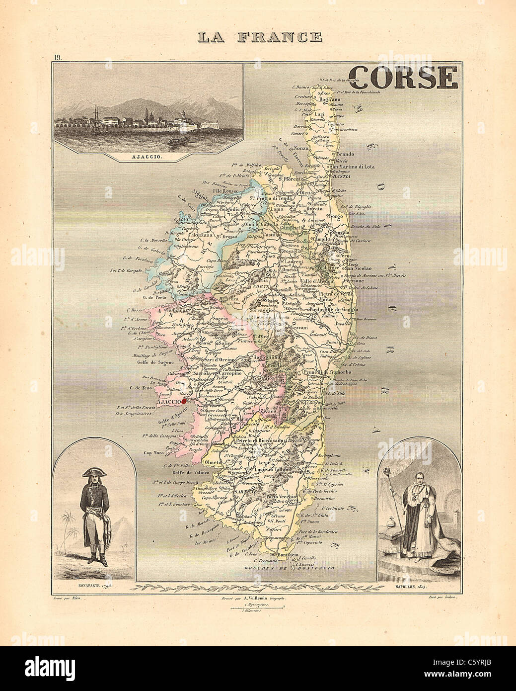 corse department antiquarian map from an 1858 french atlas beautifully detailed borders stock