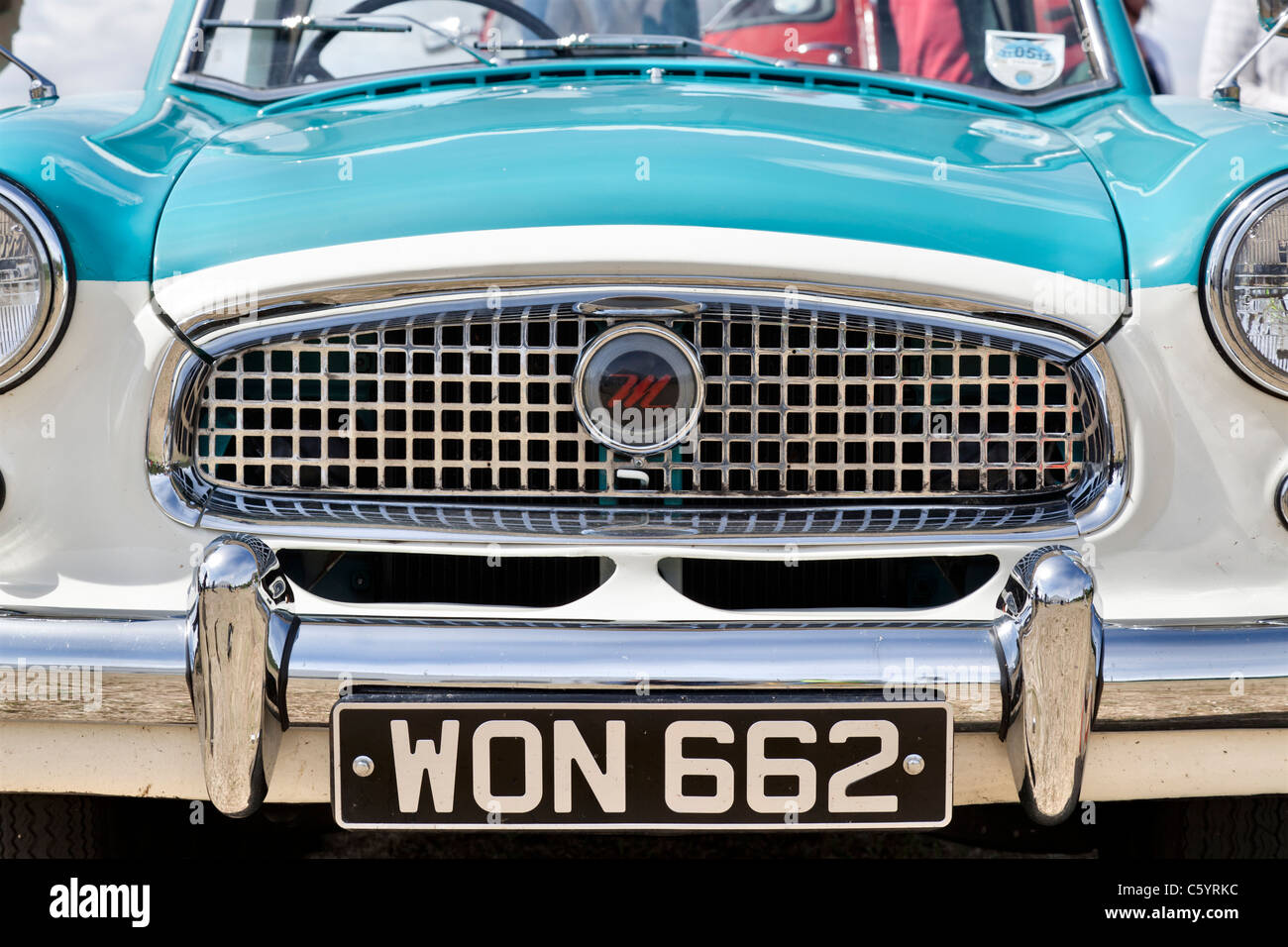 Austin Metropolitan, bonnet and grill. Also known as the Nash Metropolitan. - Stock Image