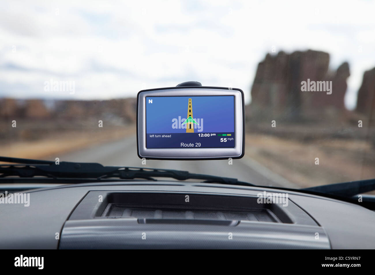 USA, New Mexico, automotive navigation system in car Stock Photo