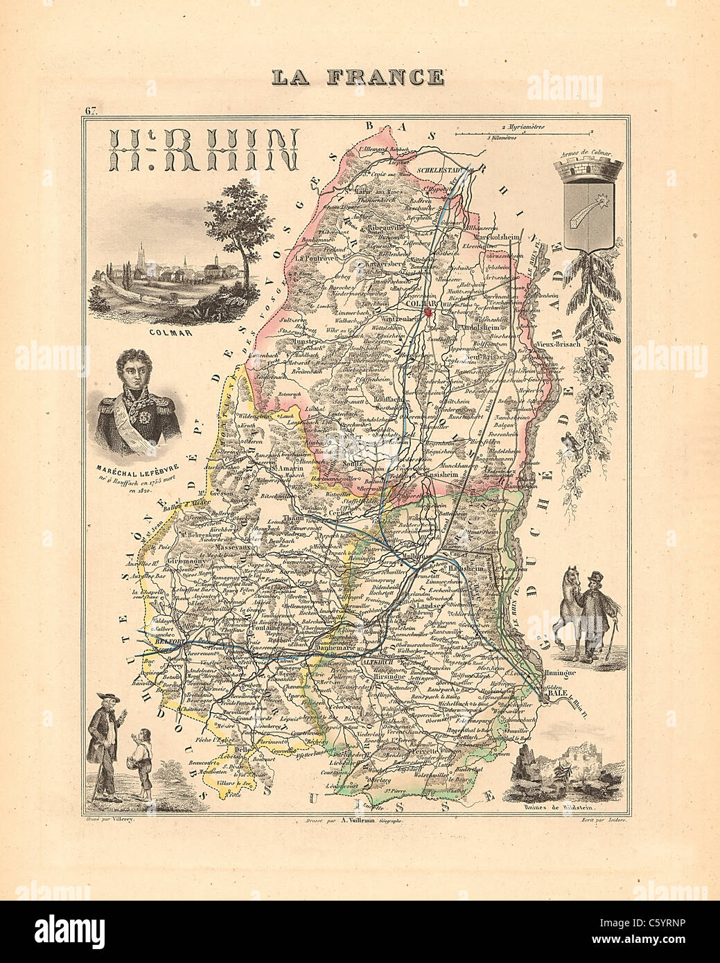 """Haute Rhin Department -  Antiquarian Map from an 1858 French Atlas """"France and its Colonies"""" (La France et ses Colonies Stock Photo"""