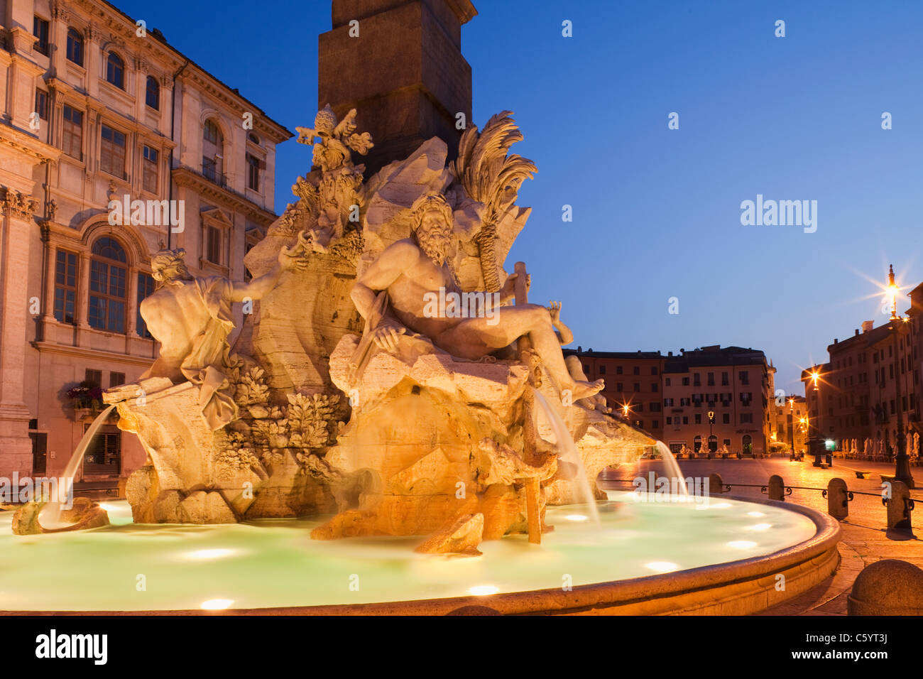 Fountain of the Four Rivers, Piazza Navona, Rome, Italy - Stock Image