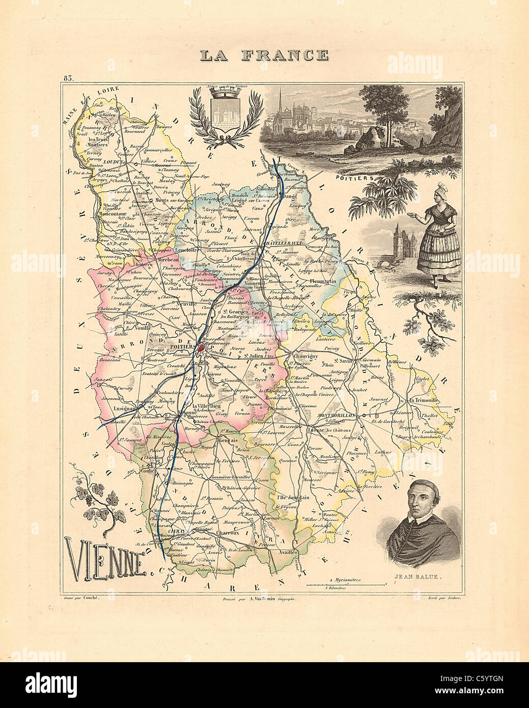 Vienne Department Antiquarian Map from an 1858 French Atlas Stock