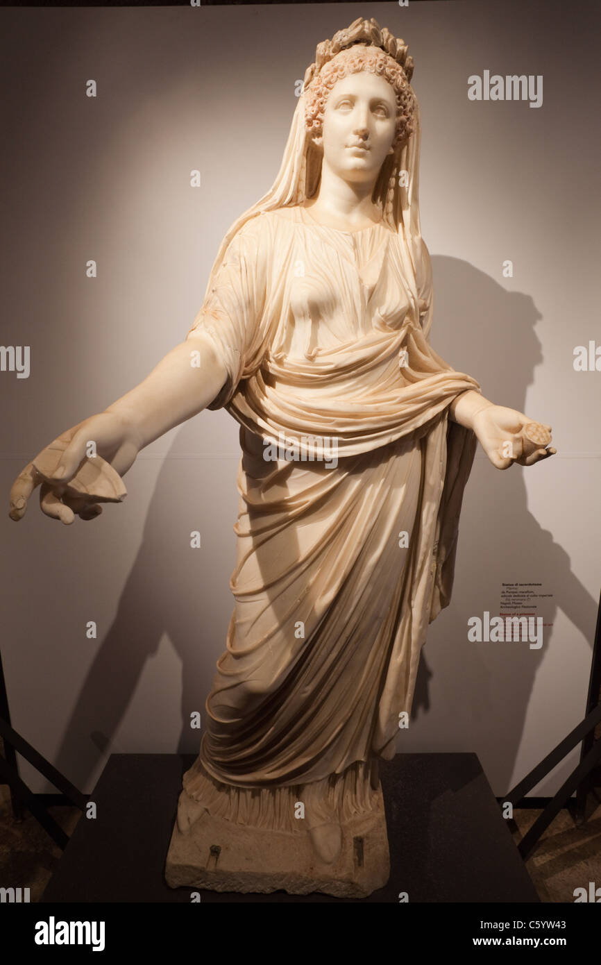 Italy, Rome, The Palatine, The Cryptoporticus, Marble Statue of a Priestess - Stock Image