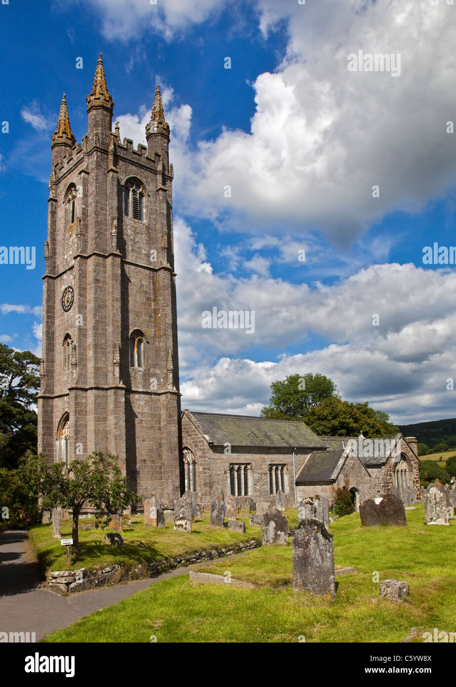 St Pancras Church, Widdecombe-in-the-Moor, Dartmoor, Devon, England - Stock Image