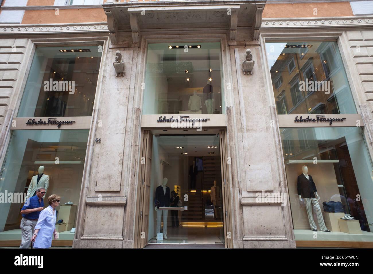 Italy, Rome, Via Dei Condotti, Street Scene and Ferragamo Store - Stock Image