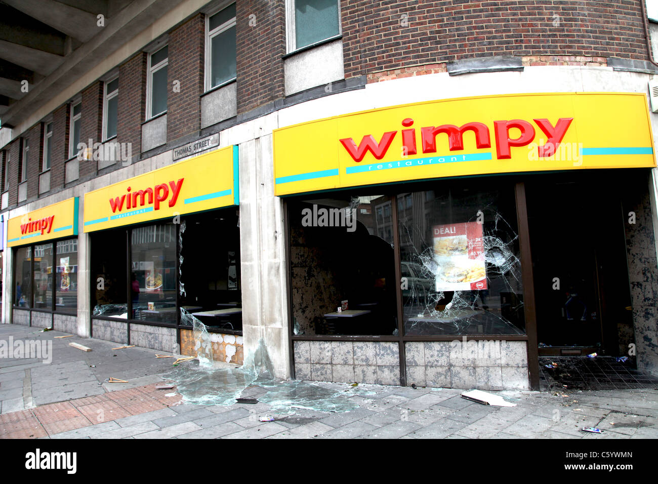 fast food premises broken into and vandalized - Stock Image