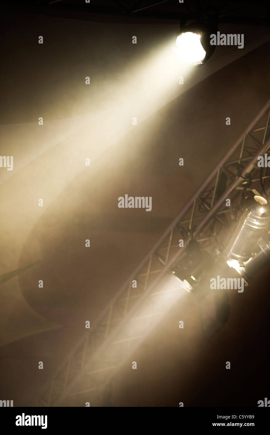 Pair of stage lights on a lighting rig - Stock Image
