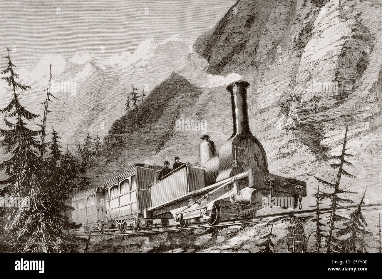 Steam train used on the Mont-Cenis, France, railroad during the 1860's. - Stock Image