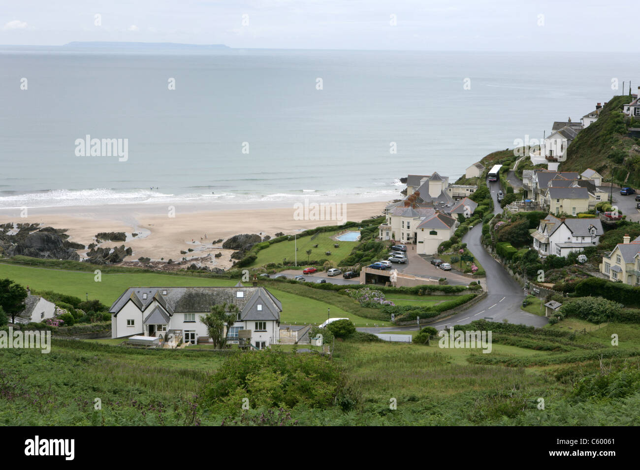 View to the secluded beach at Combesgate, Woolacombe in Devon. A popular North Devon West Country holiday destination.2013 - Stock Image