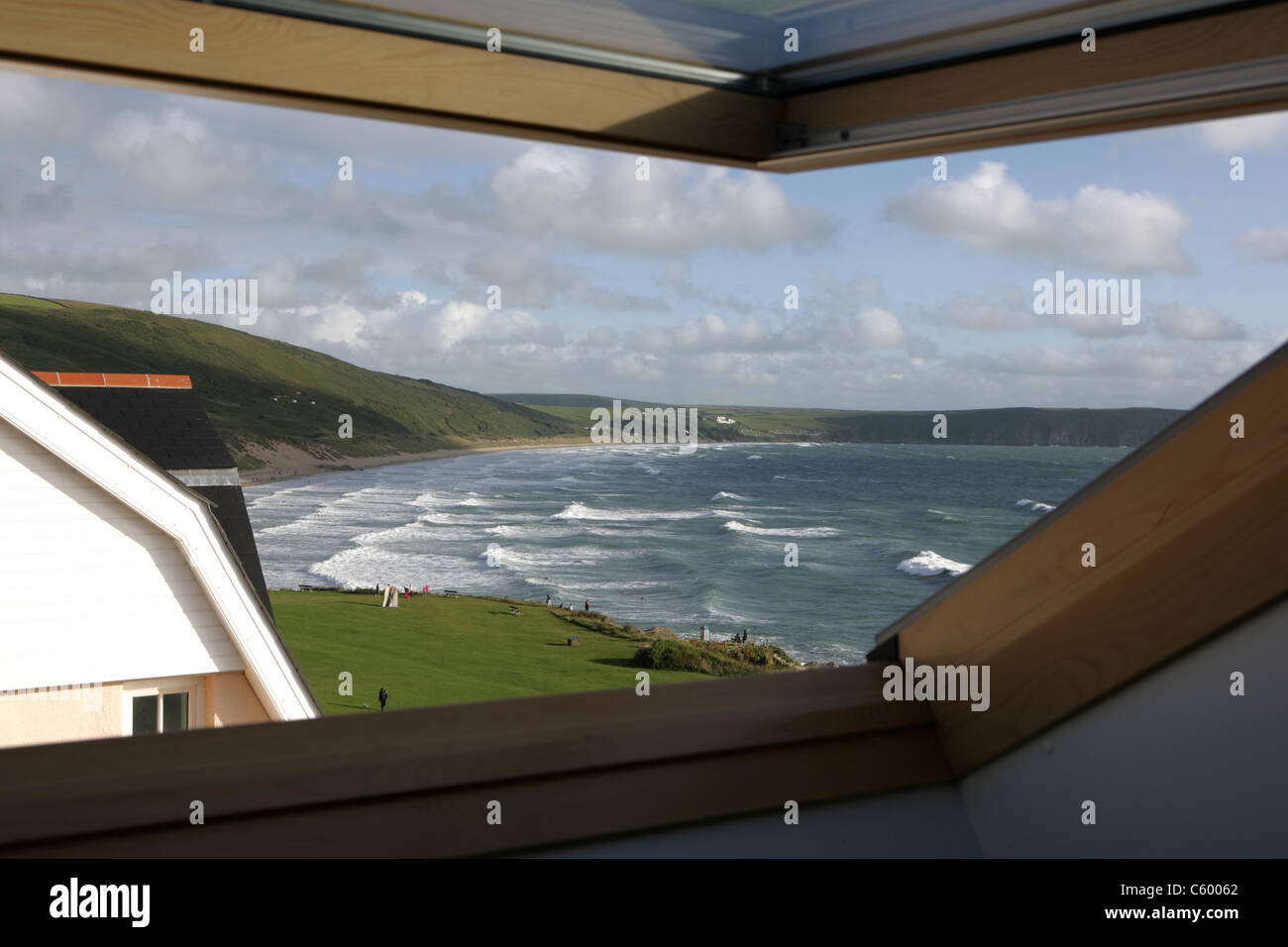 View over Woolacombe Beach in Devon, England from a beach front apartment window in the summer of 2014 - Stock Image