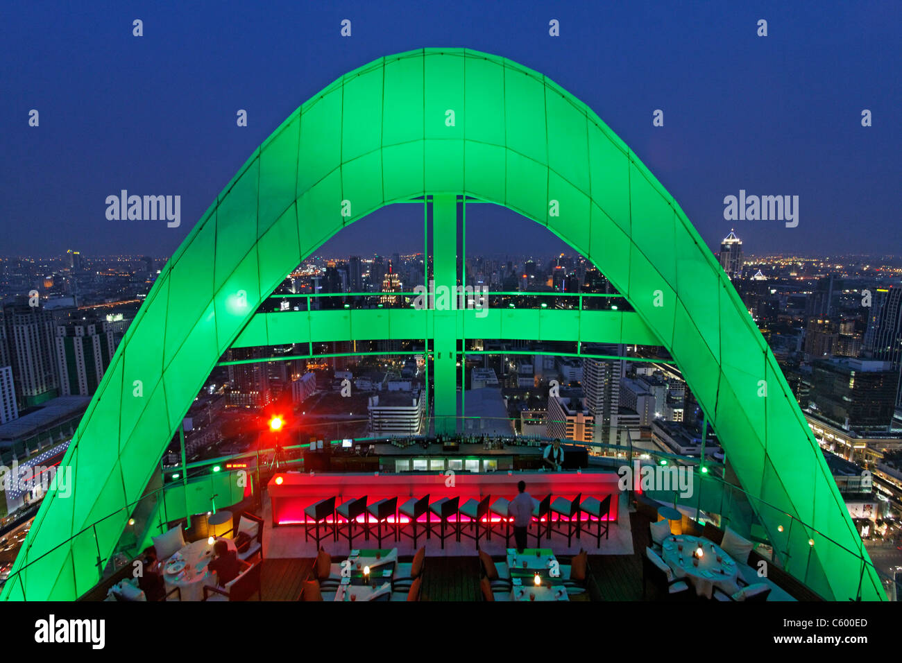 Red Sky Rooftop Bar at Centara Grands Bangkok , Thailand - Stock Image