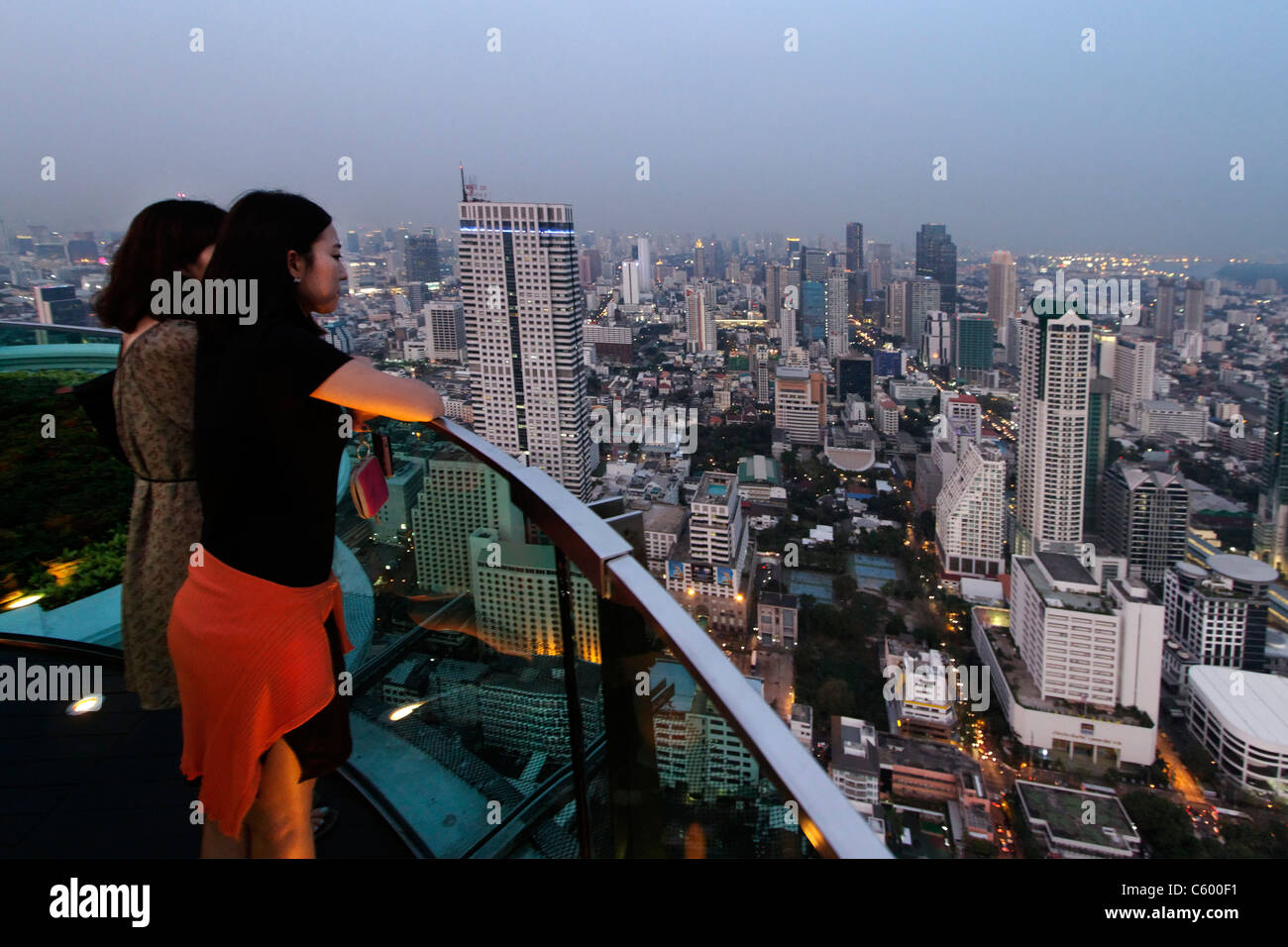 Panoramic view from Scirocco Sky Bar at Lebua State Tower in Bangkok , Thailand Stock Photo