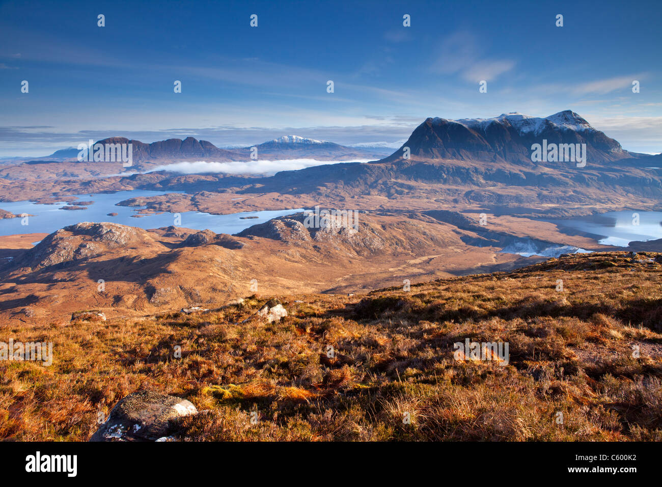 Suilven and Cul Mor mountains from Stac Pollaidh, Assynt, Scotland, UK - Stock Image