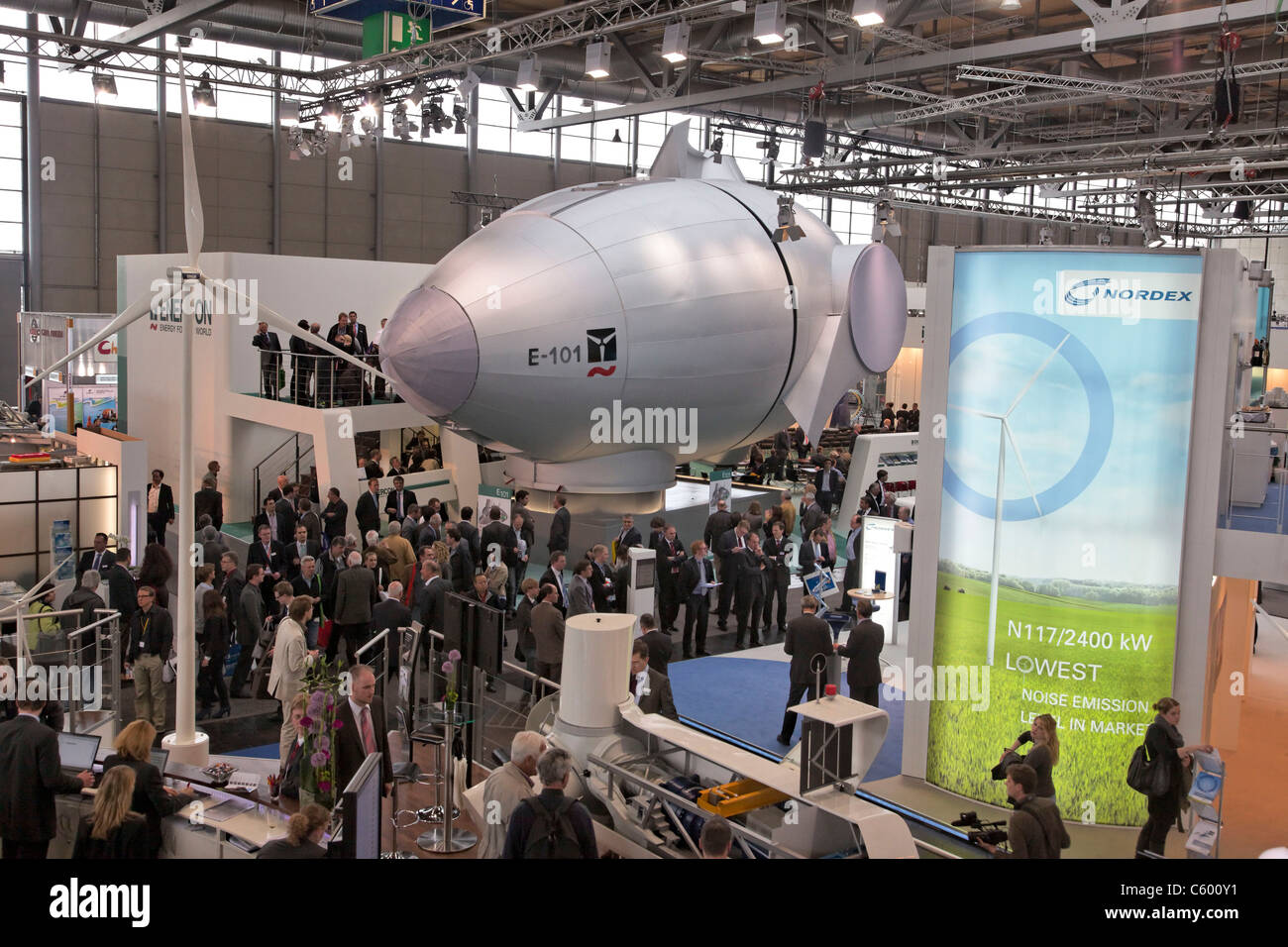 Wind turbines by Enercon on industrial fair at Hannover Messe, Germany Stock Photo