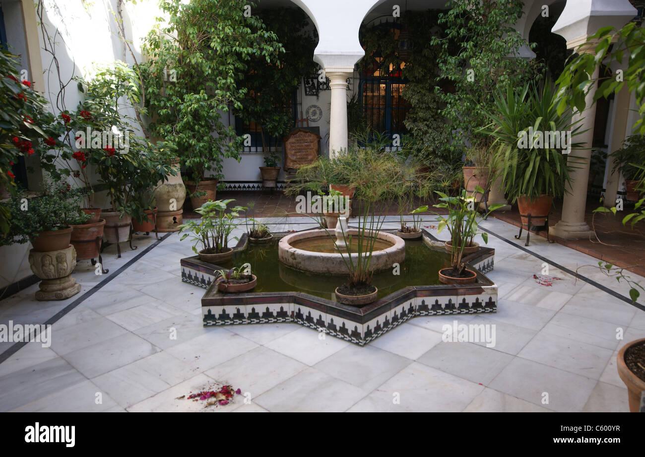 Cordoba Spain Patio Festival 2011 Indoor Garden With Fountain And Stock Photo Alamy