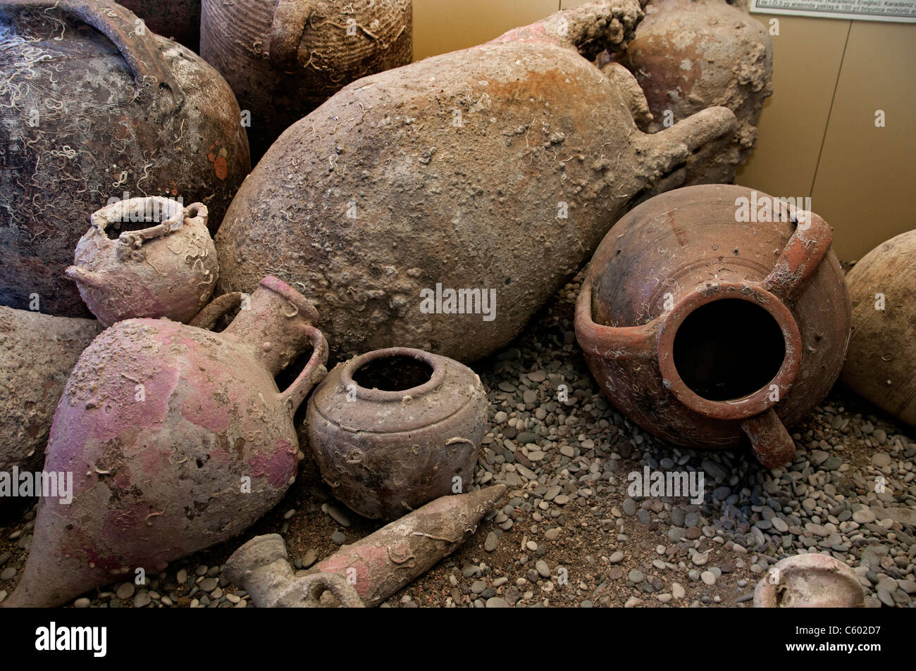 old ancient Greek Roman amphora pottery ceramic old ancient terracotta found on Sea Bottom - Stock Image