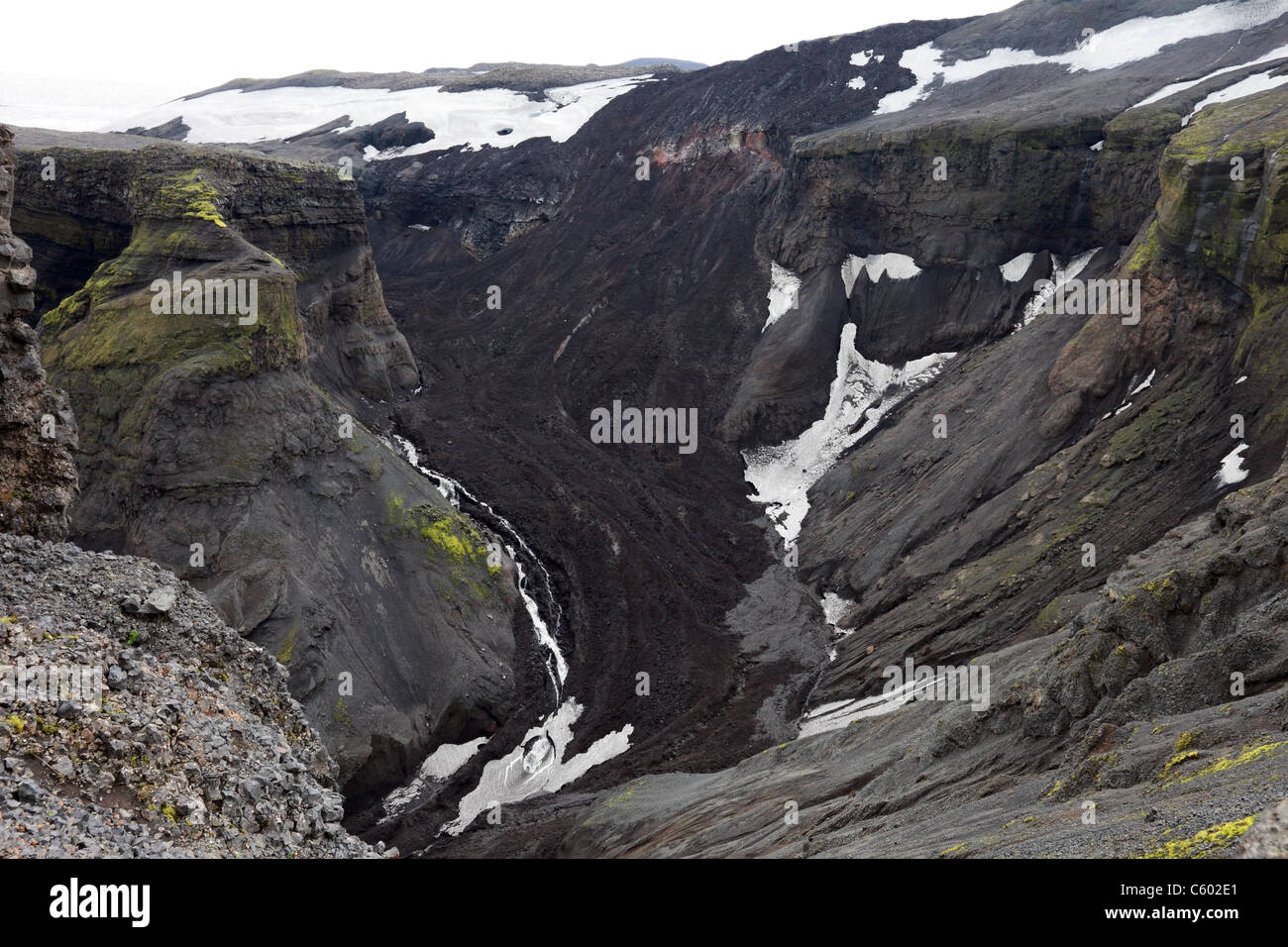 Lava Flow Flowing into the Hrunagil from the Initial Eruption Site of the Eyjafjallajokull Volcano, Fimmvorouhals - Stock Image
