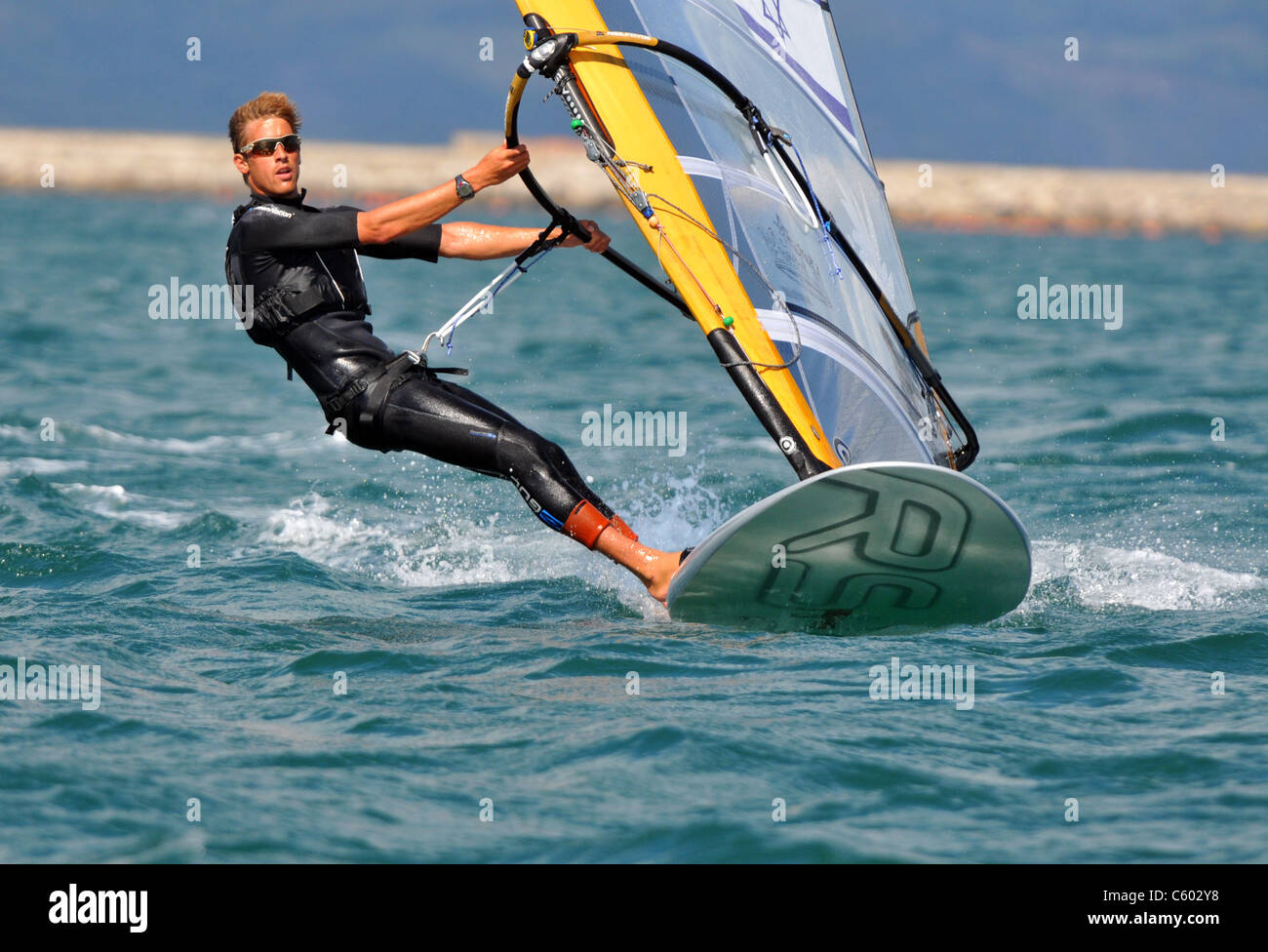 UK, Olympic Test Event. Olympic RSX Windsurfing Test Event. Nimrod Mashiah of Israel. - Stock Image