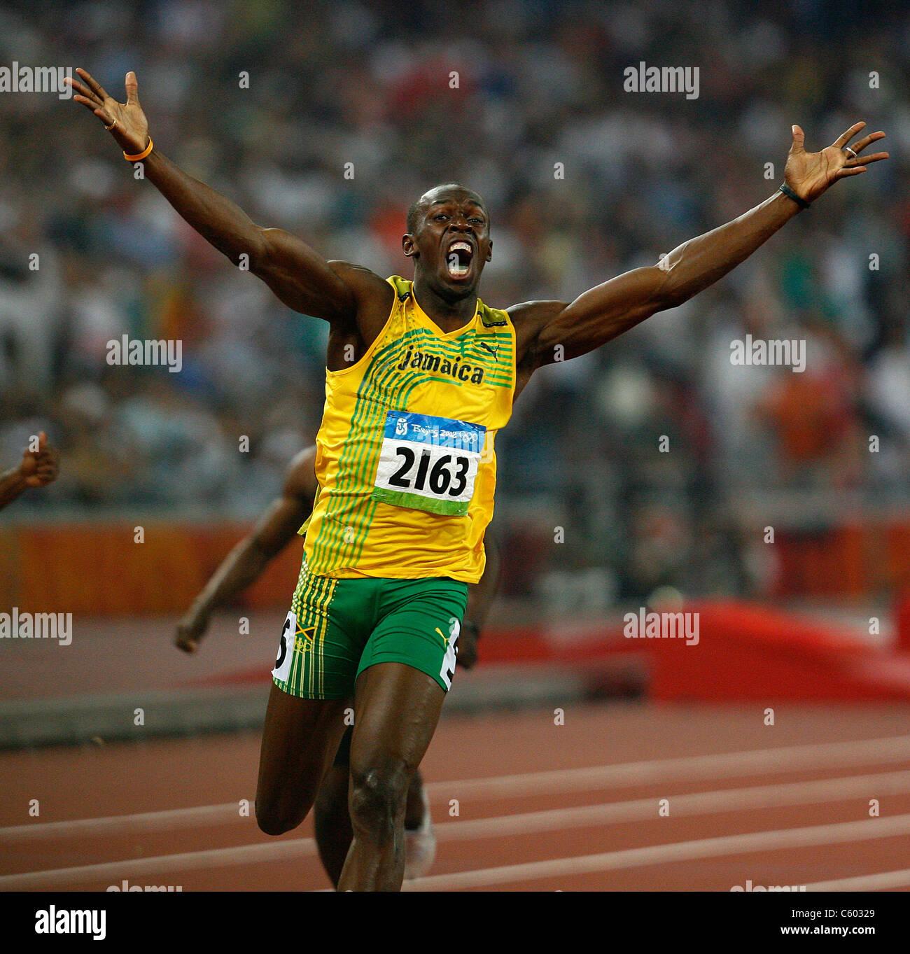 2eed0069b7a USAIN BOLT JAMAICA OLYMPIC STADIUM BEIJING CHINA 20 August 2008 - Stock  Image
