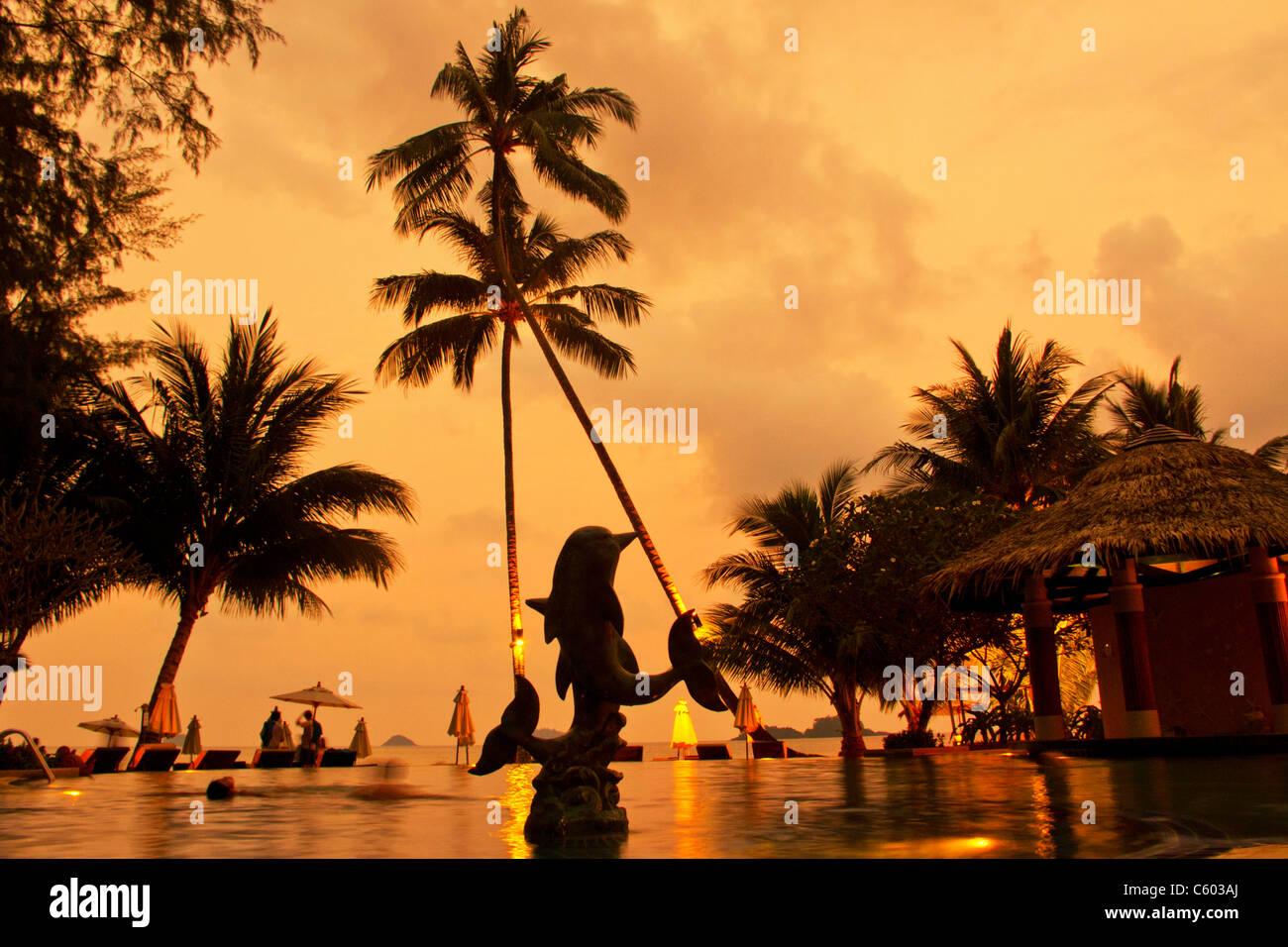Tropicana Resort & Spa, pool at sunset, Ko Chang, Thailand, - Stock Image