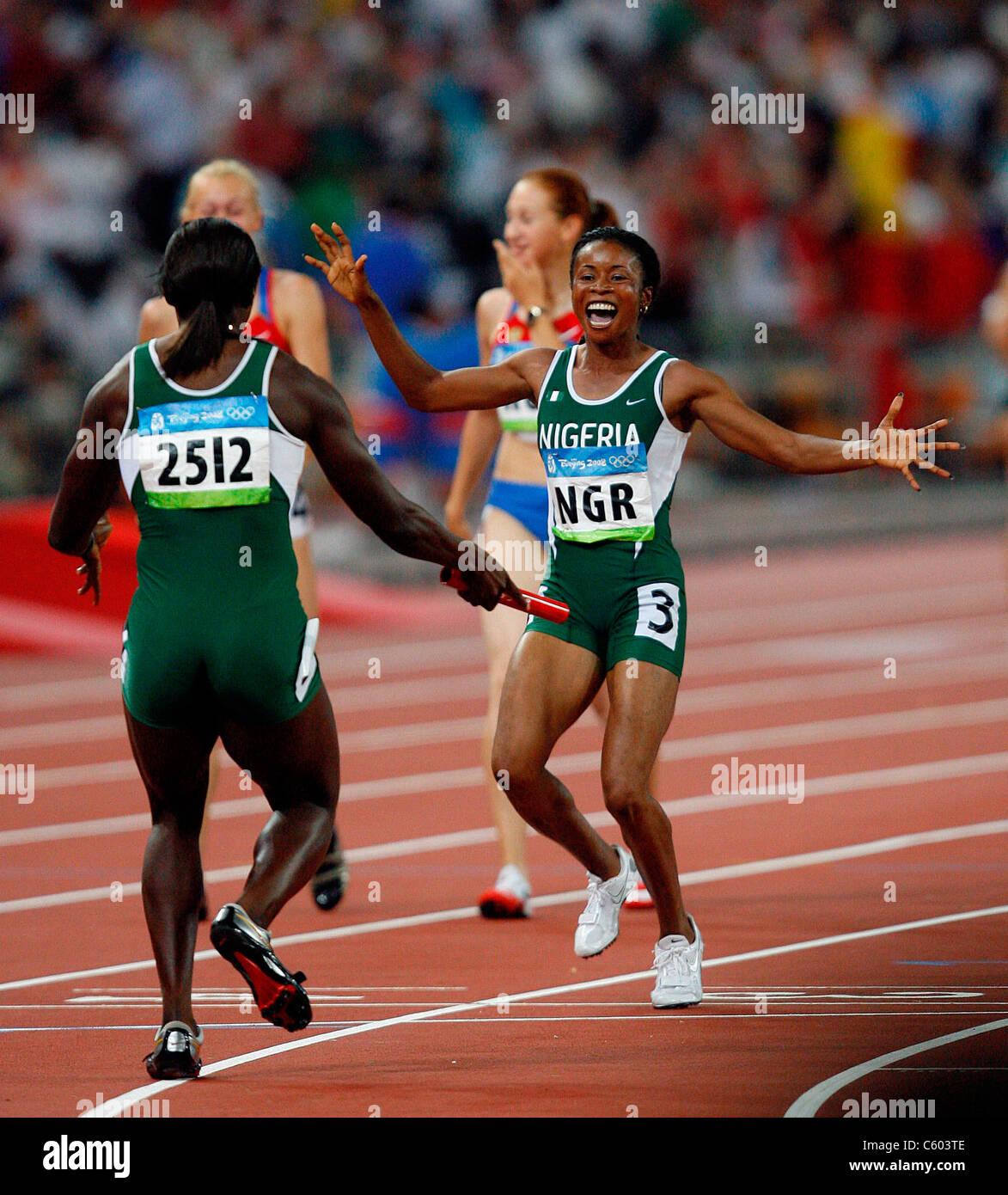 OLUDAMOLE OSAYOMI & FRANCA IDO NIGERIA OLYMPIC STADIUM BEIJING CHINA 22 August 2008 - Stock Image