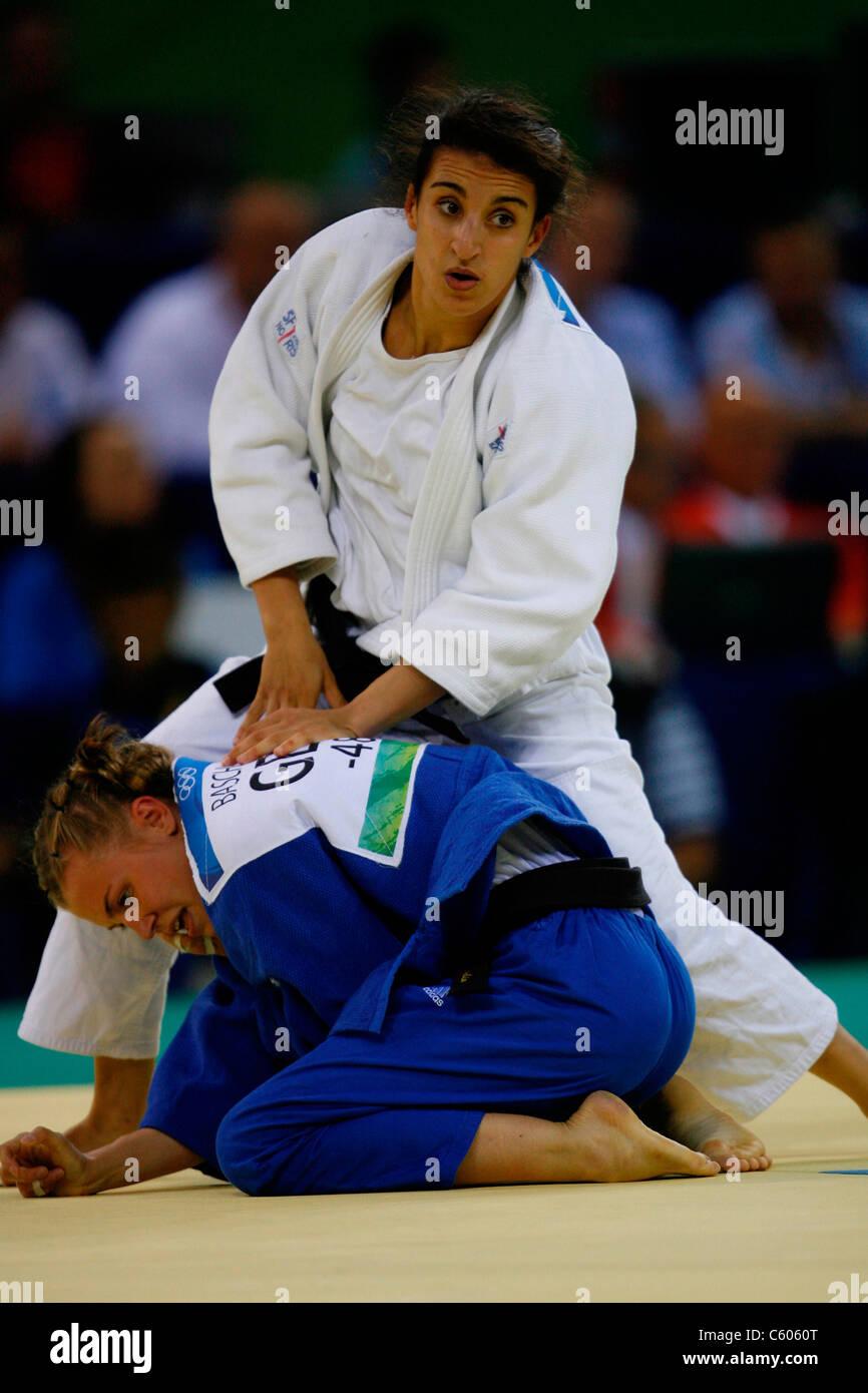 MICHEALA BASCHIN & MERIEM MOUS W0MENS -48KG JUDO OLYMPIC STADIUM BEIJING CHINA 09 August 2008 - Stock Image