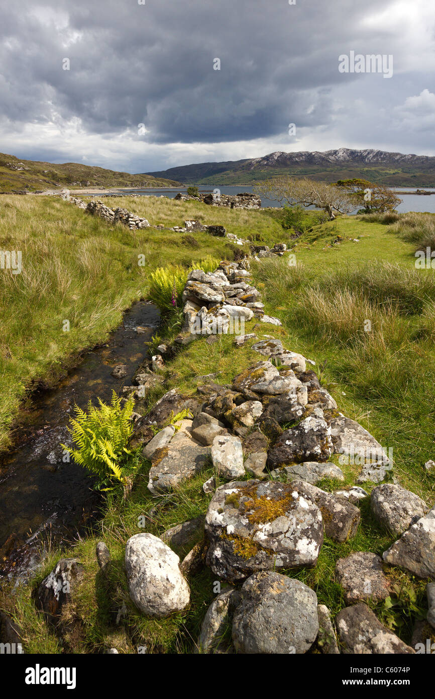 Ruined old croft walls and crofts with Loch Eishort and Sleat Peninsula beyond. Boreraig, Isle of Skye, Scotland, - Stock Image