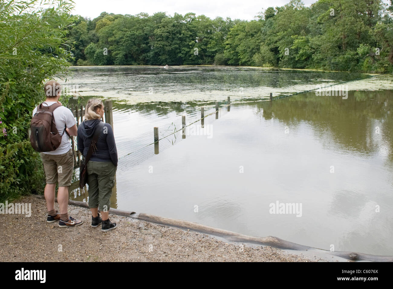 London Parliament Hill Hampstead Heath Highgate no. 1 pond young couple admire view knapsack shorts cut offs lake - Stock Image